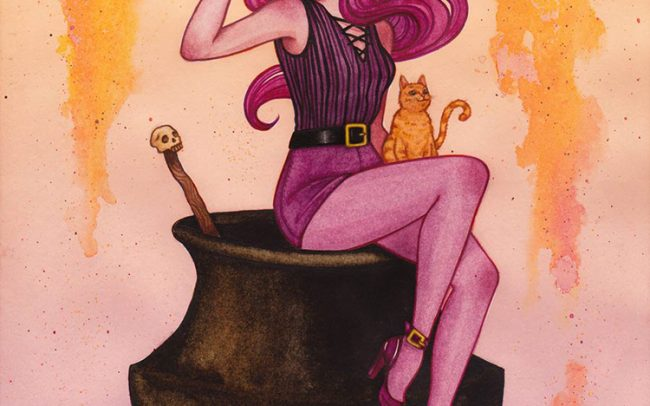 witch illustration postcard