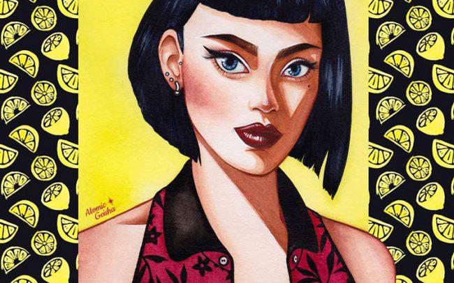 sour girl lemon portrait