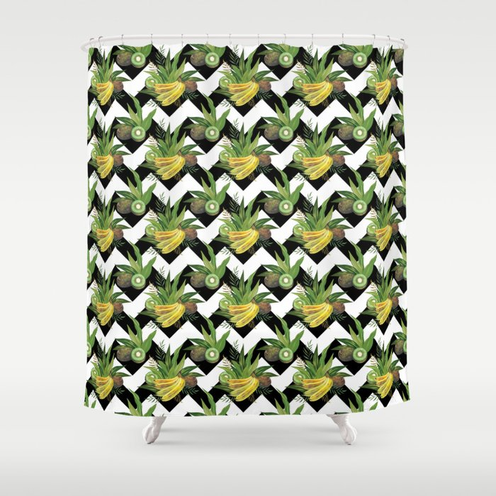 bananas-and-kiwis-zigzag-shower-curtains