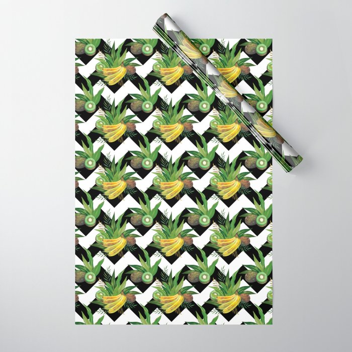bananas-and-kiwis-zigzag-wrapping-paper
