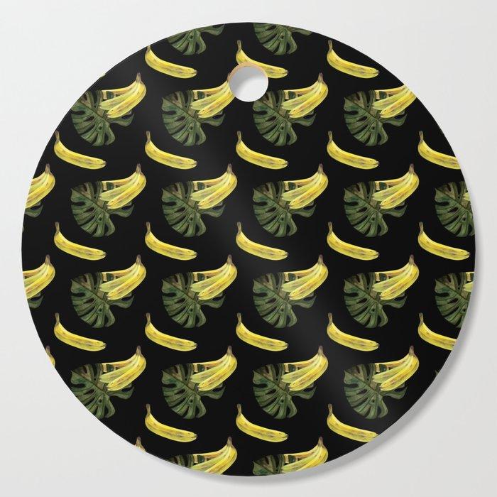 bananas-and-monstera-black-cutting-board