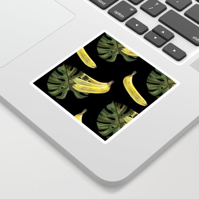 bananas-and-monstera-black-stickers