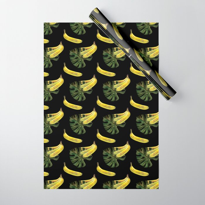 bananas-and-monstera-black-wrapping-paper