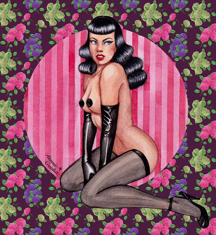 bettie page illustration art atomic geisha