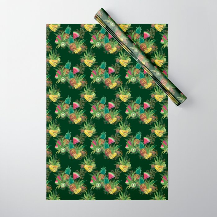 fruits-basket-1-forest-green-wrapping-paper