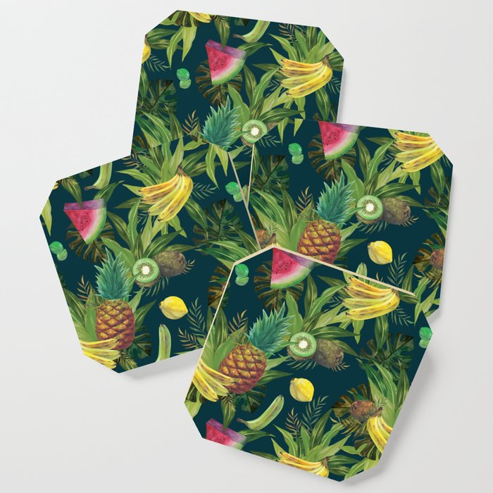 tropical pattern fruits basket 2 coasters