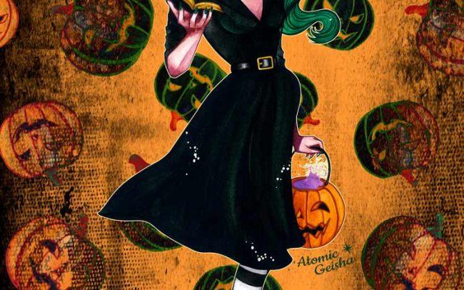 green witch pumpkin postcard