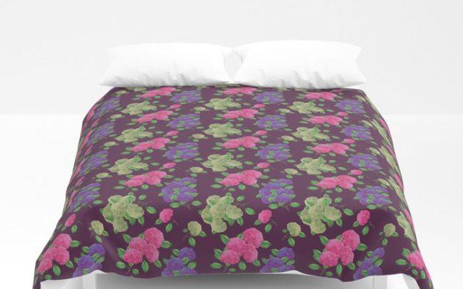 hydrengea flower pattern purple