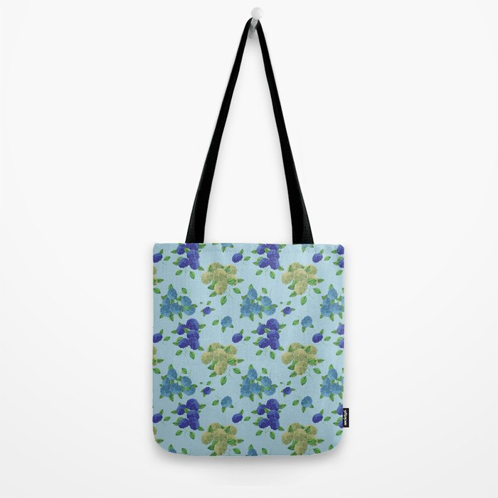hydrangea flower print blue bag