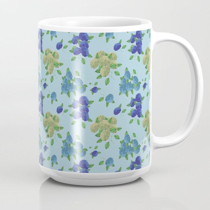 hydrangea flower print blue mug