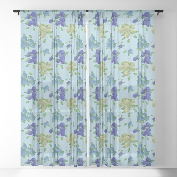 hydrangea flower print blue curtain