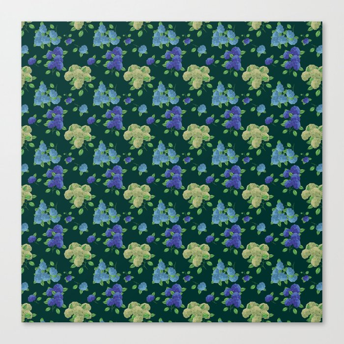 hydrengea flowers dark teal print