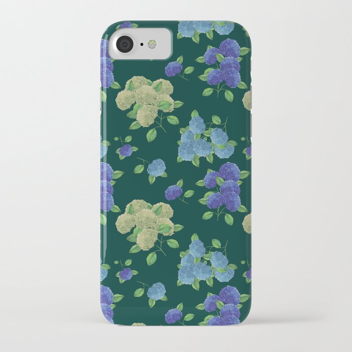 hydrangea dark teal smart phone case