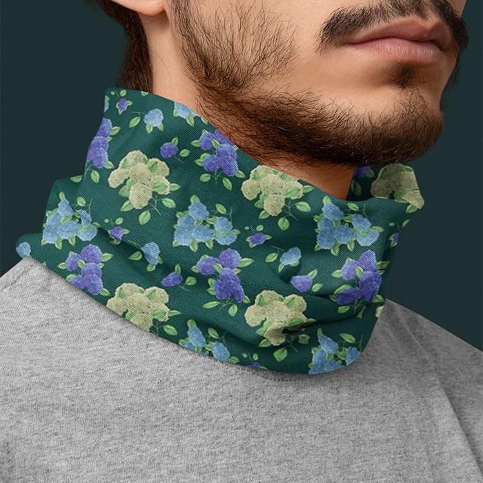 hydrengea flowers dark teal bandana