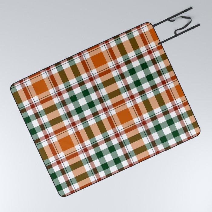 orangen green red plaid pattern