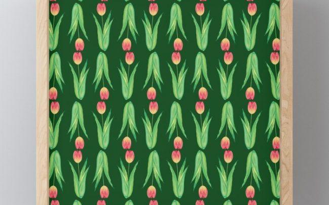 tulips dark green pattern painting