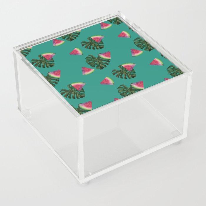 watermelon monstera acrylic box