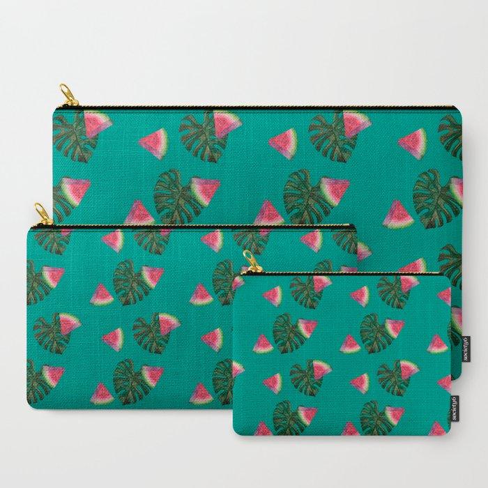 watermelon monstera pouch