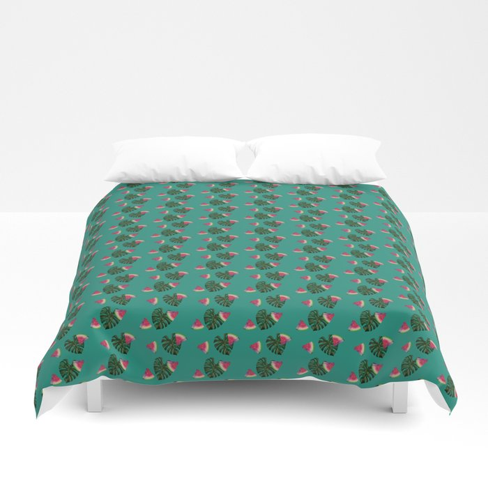 watermelon monstera duvet bed sheets