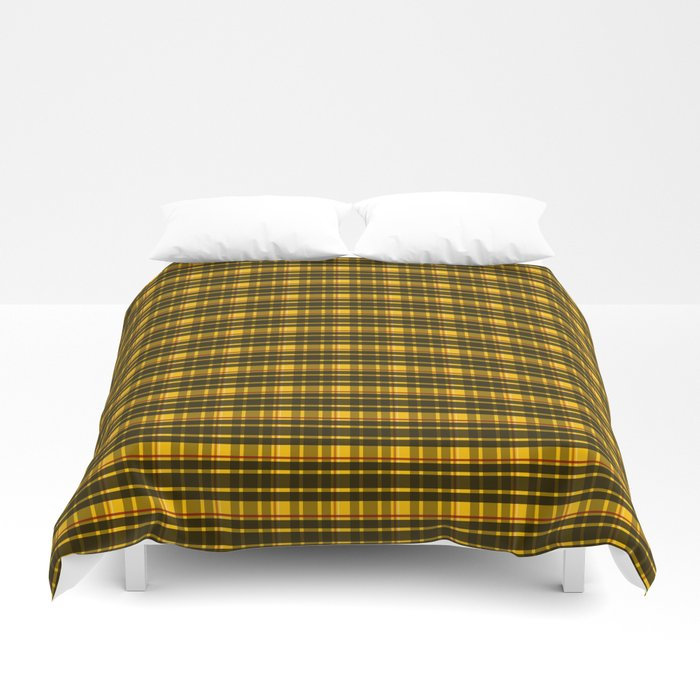 yellow plaid print bed covers