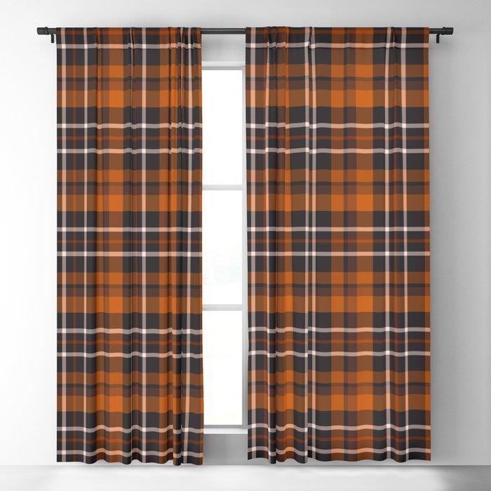 pumpkin spice plaid curtain
