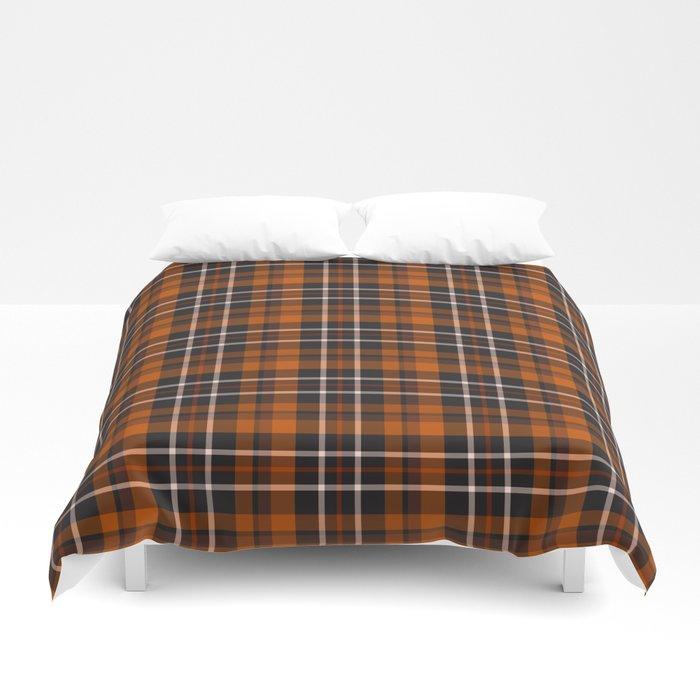 pumpkin spice plaid duvet bed sheets