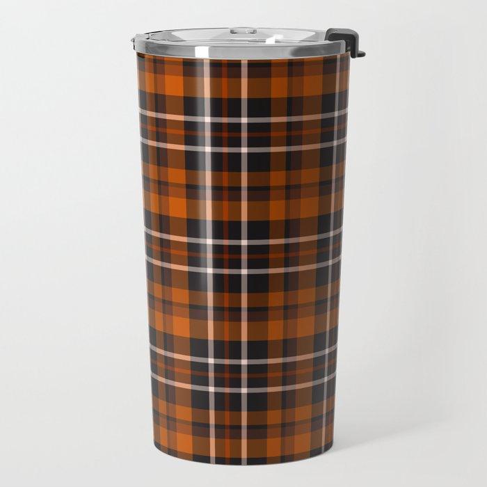 pumpkin spice plaid travel mug