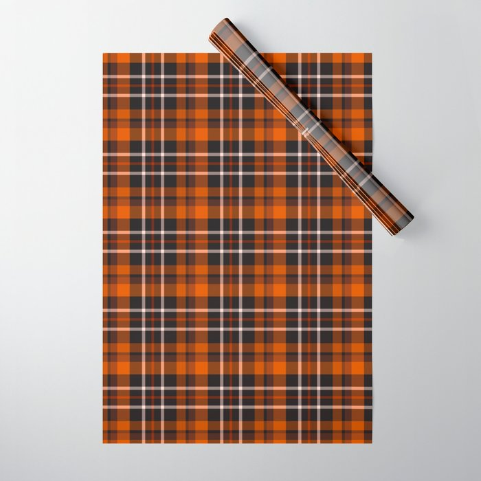pumpkin spice plaid wrapping paper