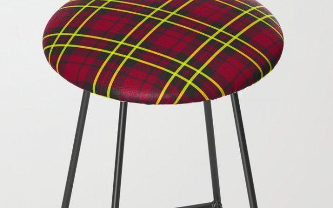 berry lime plaid stool bar