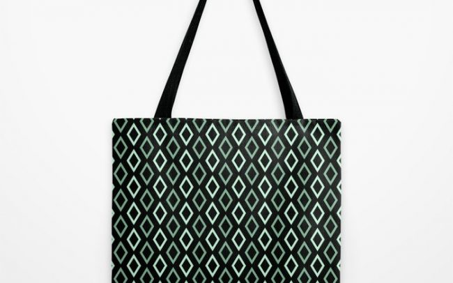 black mint diamonds tote bag