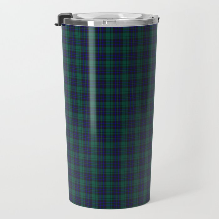 green blue plaid travel mug