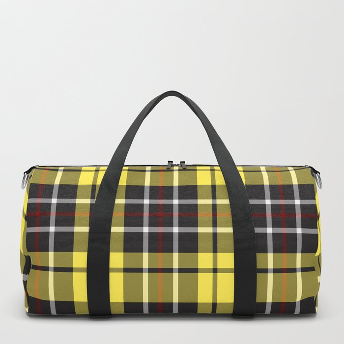 yellow-grey plaid duffle bag