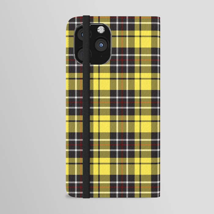yellow-grey plaid iphone wallet