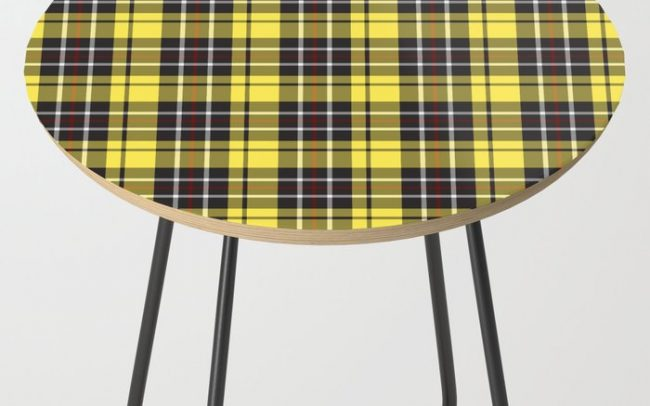 yellow-grey plaid side table