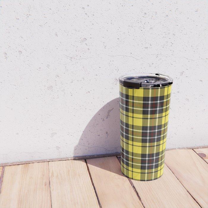 yellow-grey plaid travel mug