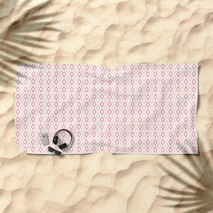 Pink-white Diamonds beach towel