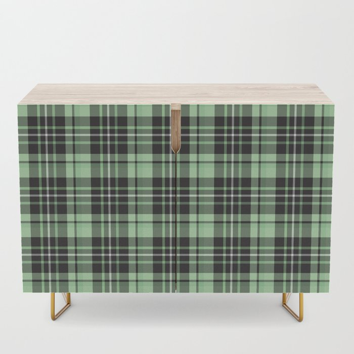 Mint-Green Plaid credenza sideboard