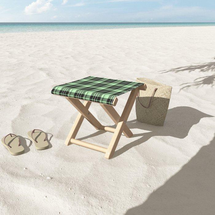 Mint-Green Plaid folding stool