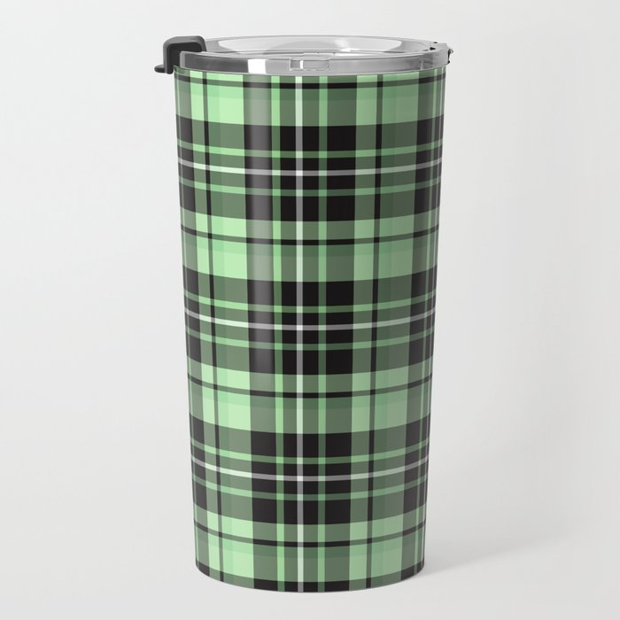 Mint-Green Plaid travel mug