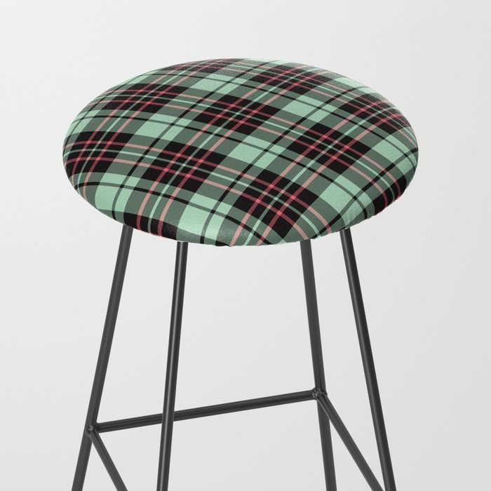 Mint-Strawberry Plaid bar stool