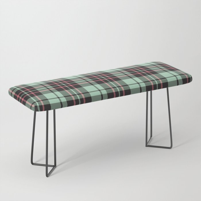 Mint-Strawberry Plaid benches