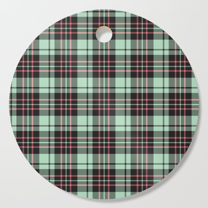 Mint-Strawberry Plaid cutting board round