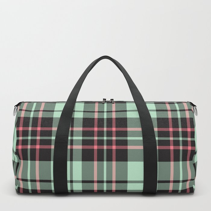 Mint-Strawberry Plaid duffle bag