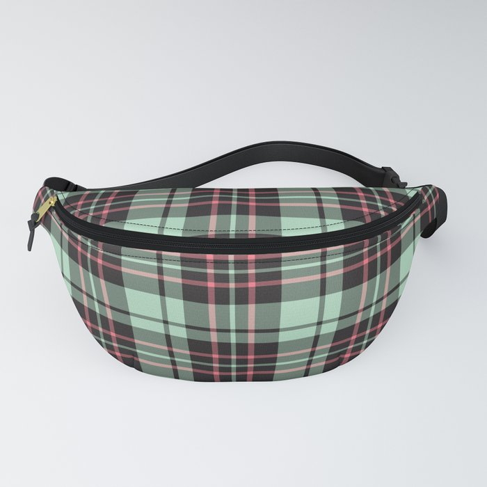 Mint-Strawberry Plaid fanny pack