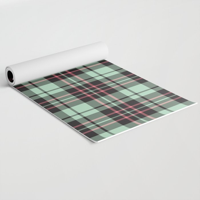 Mint-Strawberry Plaid yoga mat