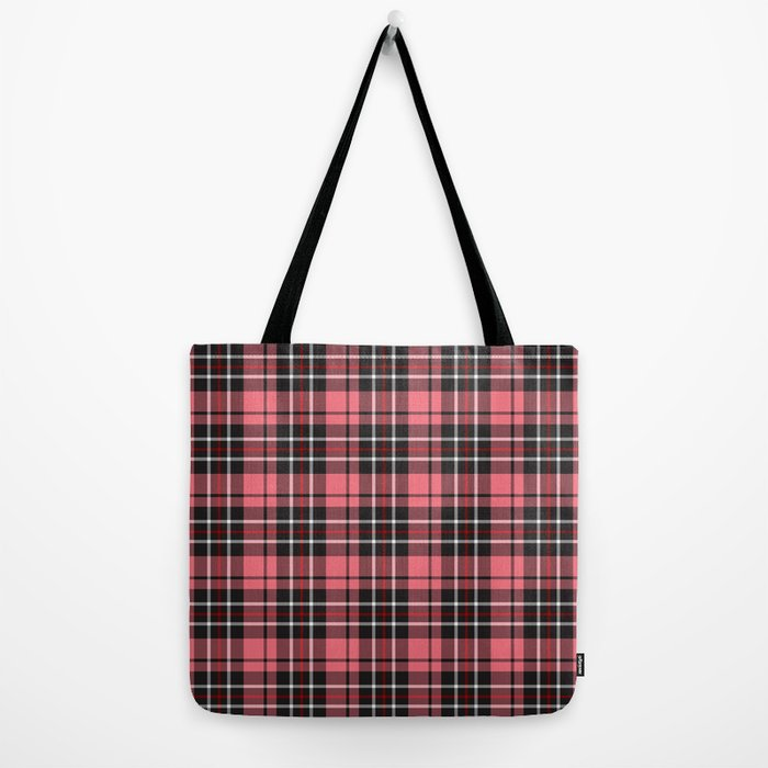 Strawberry plaid tote bag