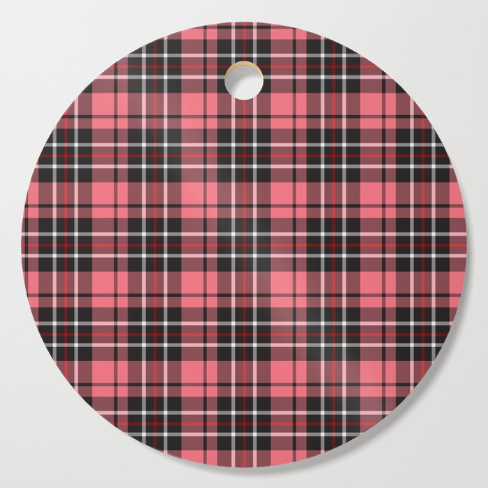 Strawberry plaid cutting board round