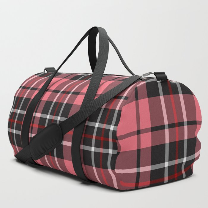Strawberry plaid duffel bag