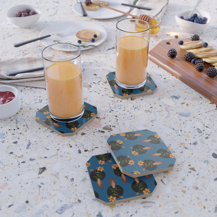 tiger lilies blue coasters