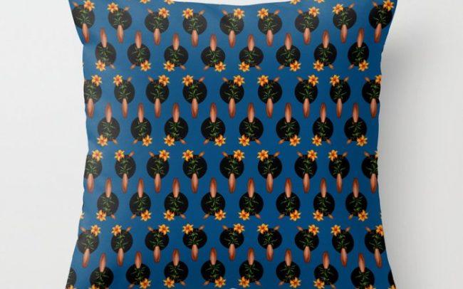 tiger lilies blue pillow